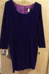 Vintage, wms sz 12 blue velvet fitted dress, new with tags in Tacoma, Washington